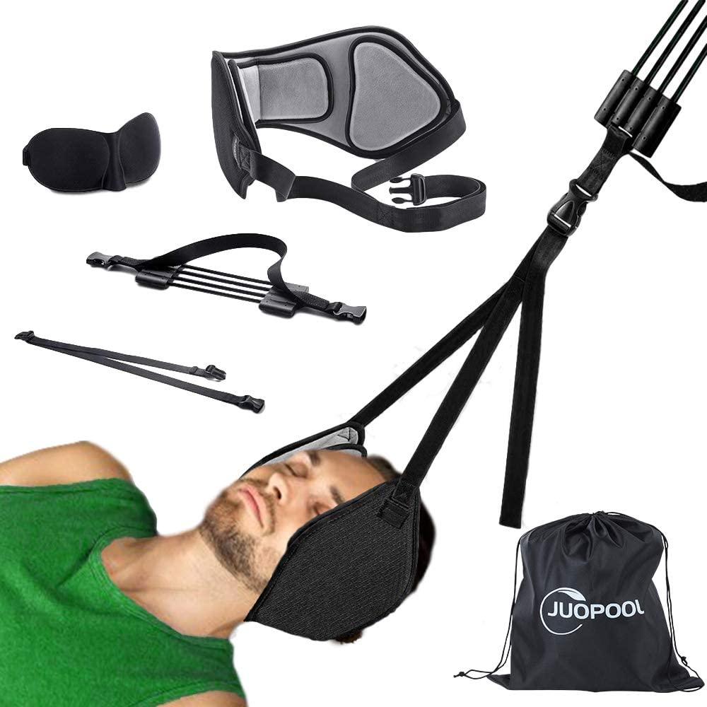 Neck Hammock, Juopool Cervical Traction Stretcher Device for Neck Pain Relief, Adjustable Buckle & Velcro, Comfort Velvet & Stable Elastic Rope, Eye Mask & Bag for Free