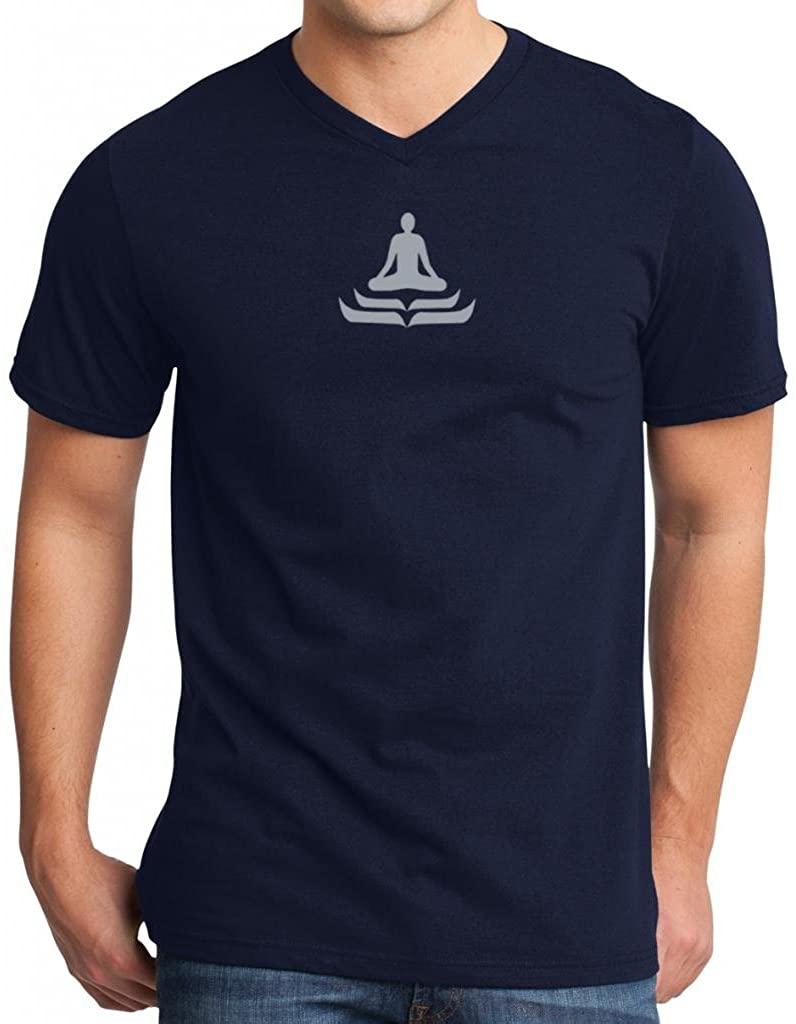 Yoga Clothing For You Mens Lotus Pose V-Neck Navy Tee Shirt