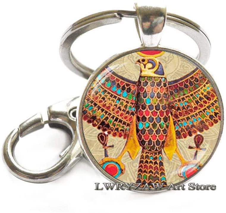 Egyptian Horus Keychain, Egyptian Falcon Keychain, Ancient Egypt Keychain, Egypt Keychain, Egyptian Key Ring, Glass Dome Keychain,M200