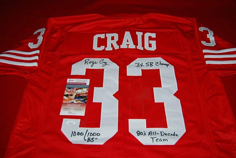 Roger Craig (NFL) Signed Jersey - COA 1000 1000 3X SB CHAMP 2 - JSA Certified - Autographed NFL Jerseys