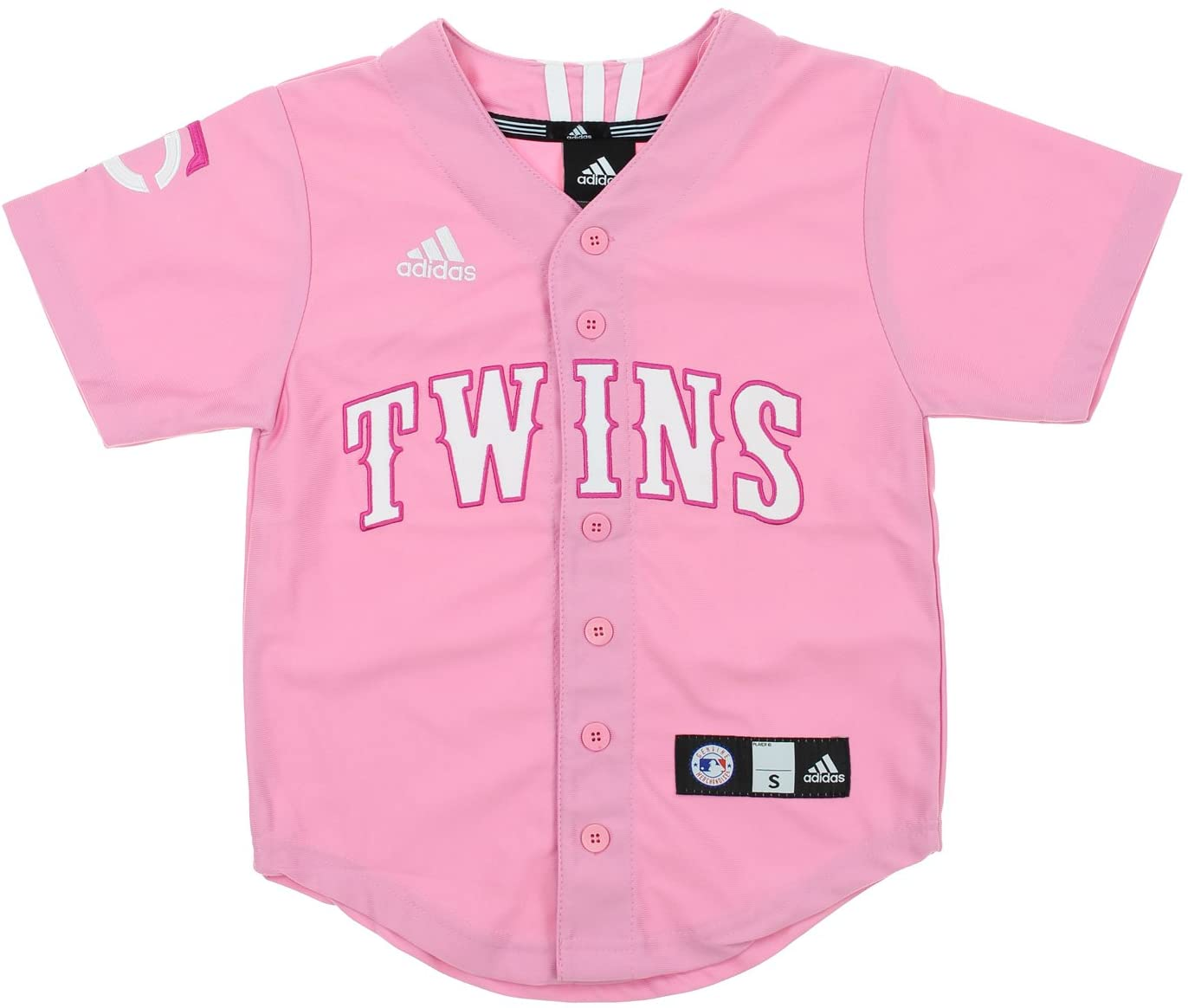 adidas MLB Youth (7-16) Girl's Minnesota Twins Applique Jersey, Pink