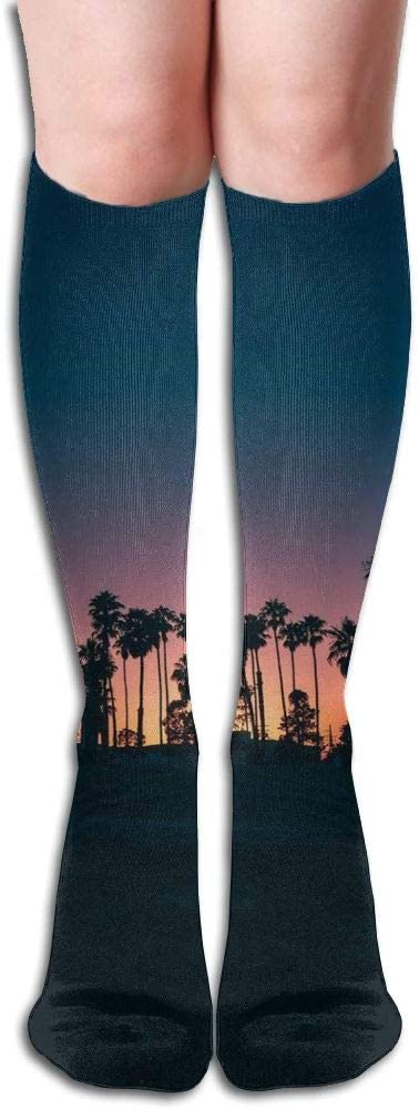 KLQ Coconut Tree Sunset Knee High Crew Socks Knee High Stockings for Indoor and Outdoor Sports