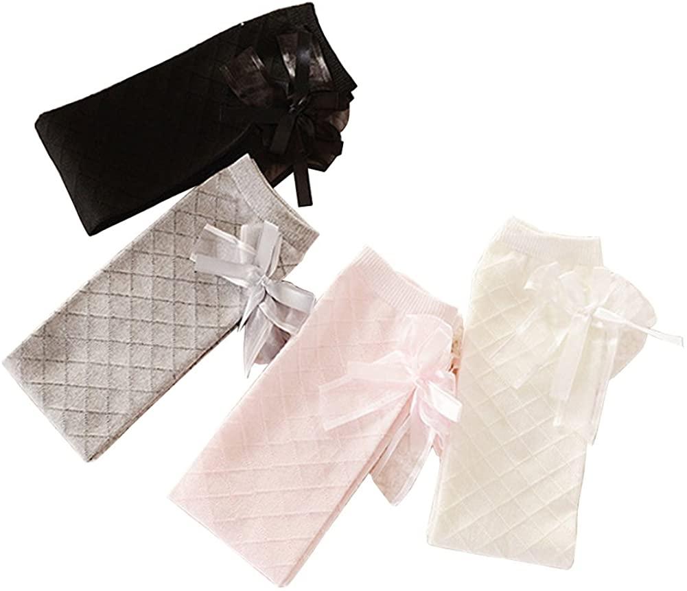 Girl Knee Socks 2PC Cotton Bow Diamond Mesh Toddler Stockings For 5-12 Y