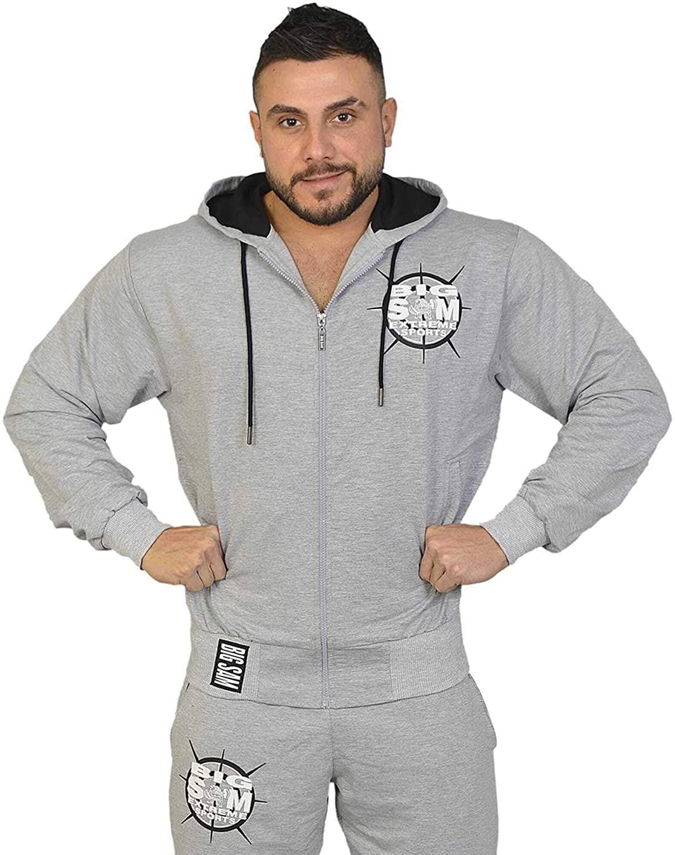 BIG SM EXTREME SPORTSWEAR Sweatjacket Bodybuilding Sweatshirt Hoody 3603 S Grey