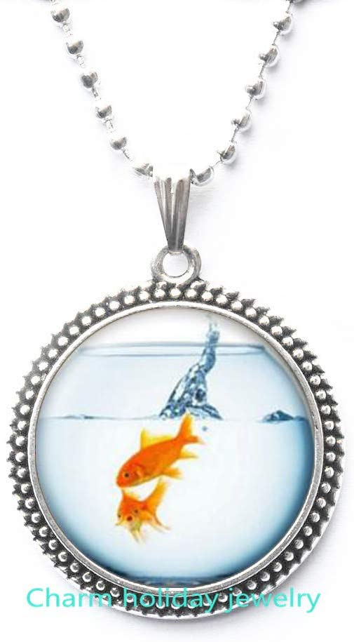 Goldfish Necklace Pendant-Gold Fish in Fish Bowl Jewelry-Fish Necklace-Fishbowl Pendant-Realistic Goldfish Charm-#132
