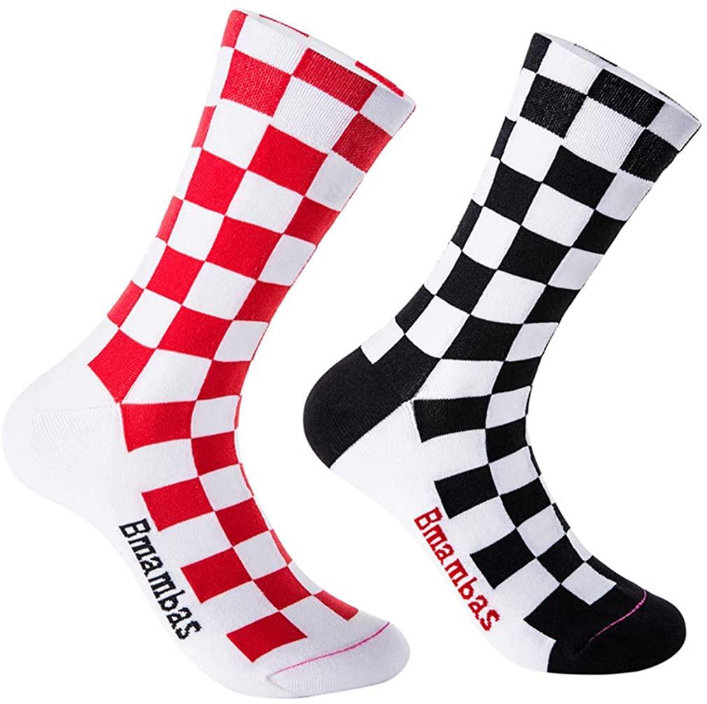 Bmambas Mens Cycling Socks Breathable Running Socks Sport Socks for US Sizes 5-10