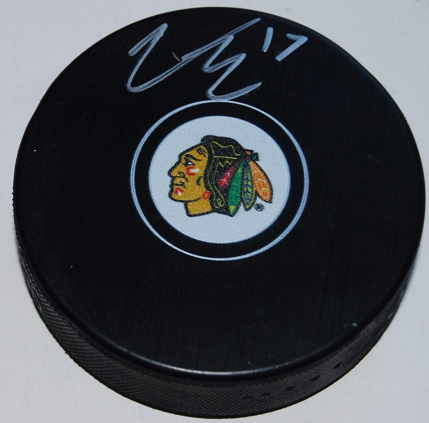 Victor Ejdsell Signed Puck - souvenir logo W COA - Autographed NHL Pucks