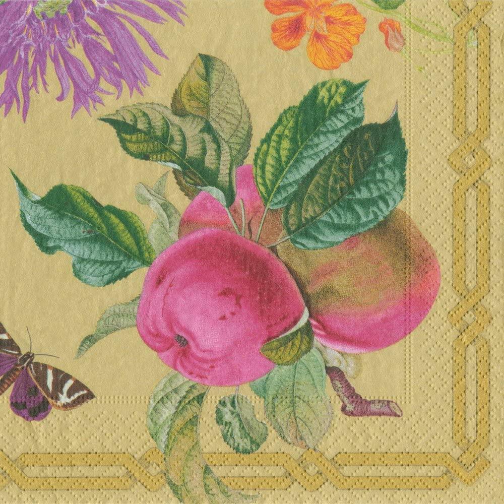 Caspari Decoupage Garden-Gold Napkin Cocktail, Multicolor