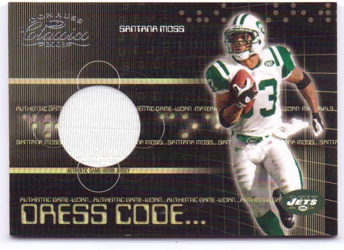 Santana Moss 2003 Donruss Classics Dress Code Game Worn Jersey #DC-9 - 309/550 - New York Jets