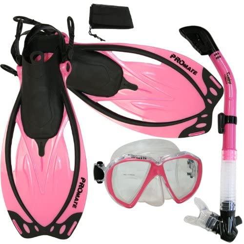 Promate Snorkel Mask Snorkeling Fins Scuba Dive Dry Snorkel Combo Set, n.Pink, MLXL