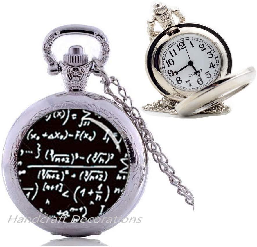 HandcraftDecorations Mathematical Pendant,Math Formulas,Quantum Physics,Science Jewelry,Physics Jewelry,MathEquatioJewelryfomen,Pocket Watch Necklaceformen.F20