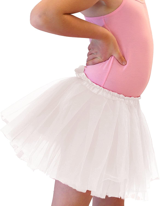 Girl Solid Ballet Dance Tutu for ages 2-10 (White)