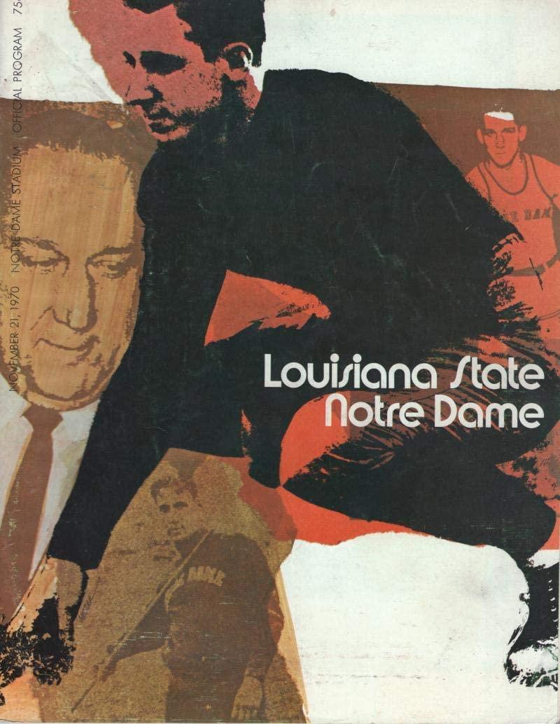 LOUISIANA STATE NOTRE DAME 11/21/70 OFFICIAL VINTAGE PROGRAM W/COA