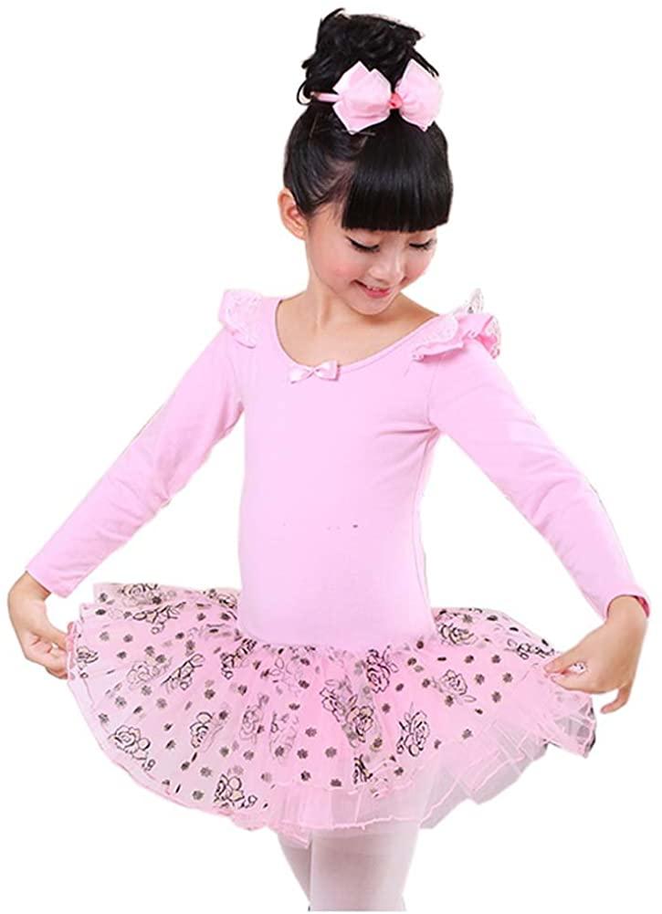 George Jimmy Comfortable Leotard Dress Ballet Long Sleeve Tutu Skirt Ballerina Dance Costumes, A