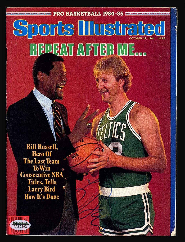 Larry Bird Autographed Sports Illustrated Magazine Boston Celtics No Label SGC #AA10392 - Autographed NBA Magazines