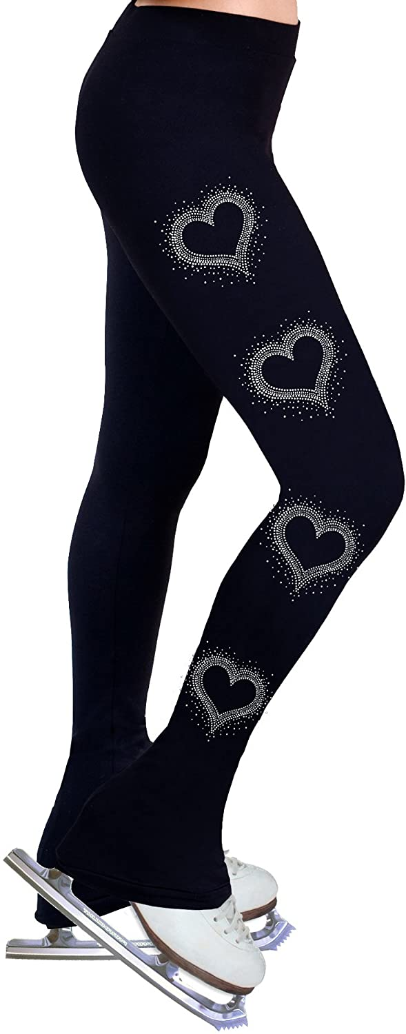 ny2 Sportswear Ice Figure Skating Dress Practice Pants with Rhinestones R106 (Child Extra Small)
