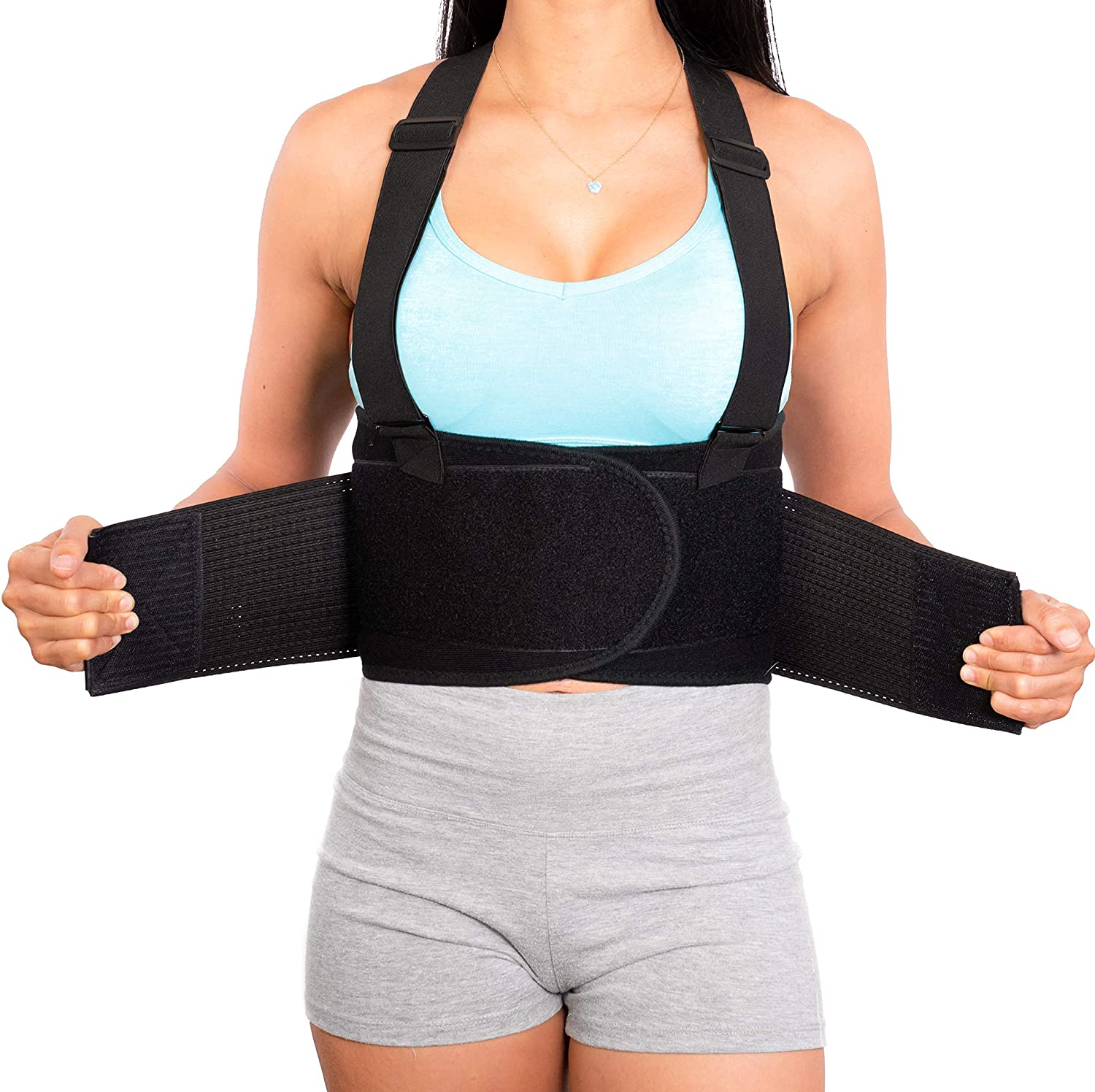 Lower Back Brace with Suspenders | Lumbar Support | Wrap for Posture Recovery, Workout, Herniated Disc Pain Relief | Waist Trimmer Work Ab Belt | Industrial | Adjustable | Women & Men | Black Mesh M
