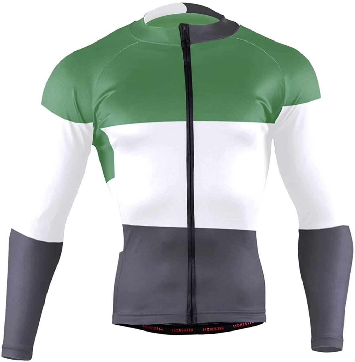Palestine Flag Men's Cycling Jersey Long Sleeve Bike Jacket Biking Bicycle Jersey Shirt