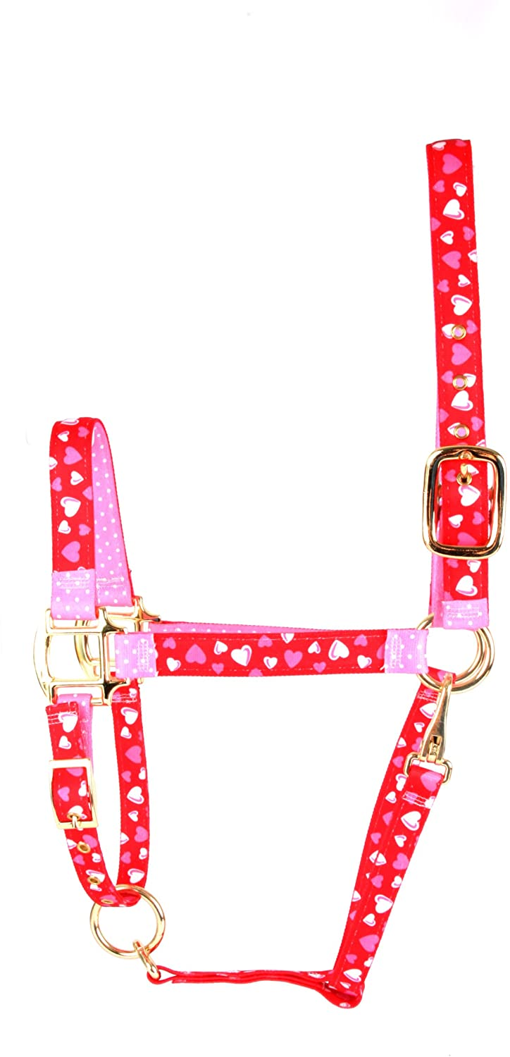 Red Haute Horse RH1200 MH High Fashion Horse Horse Halter, Red Hearts