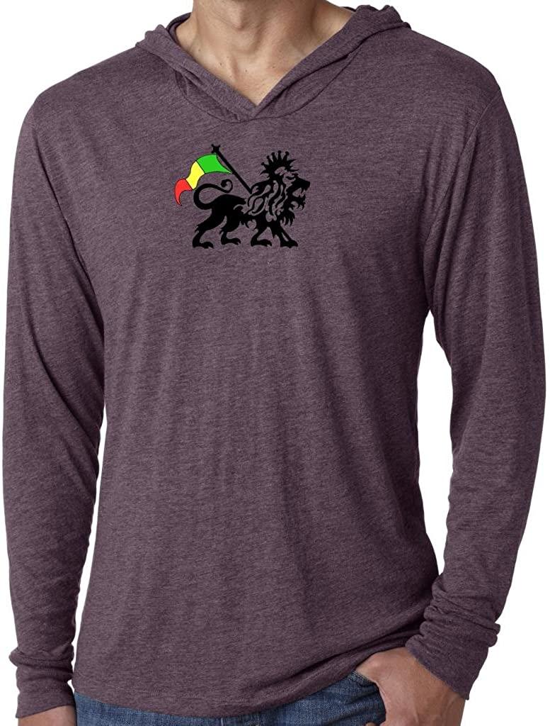 Yoga Clothing For You Mens Rasta Lion Purple Hoodie Tee Shirt
