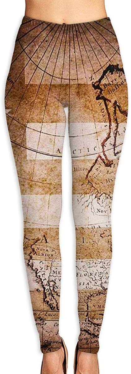 Womens Yoga Pants Leggings Compass Map Running Workout Power Stretch Long Trousers Training Gym