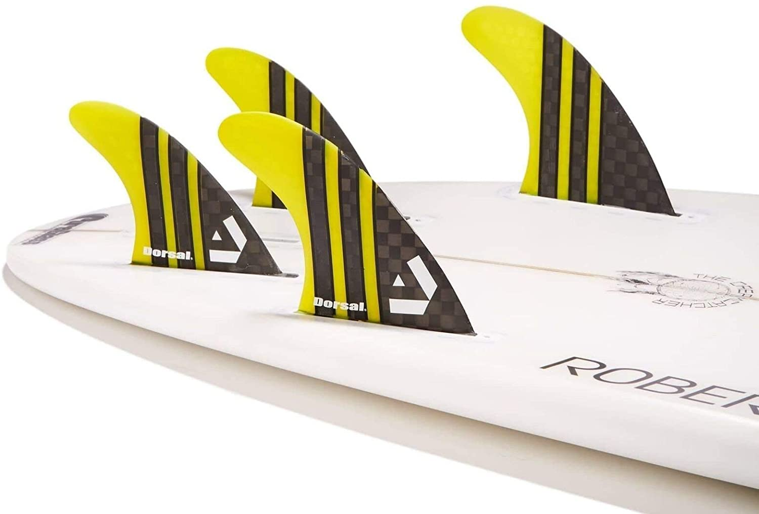 DORSAL Carbon Hexcore Quad Surfboard Fins (4) Honeycomb FUT Base Yellow
