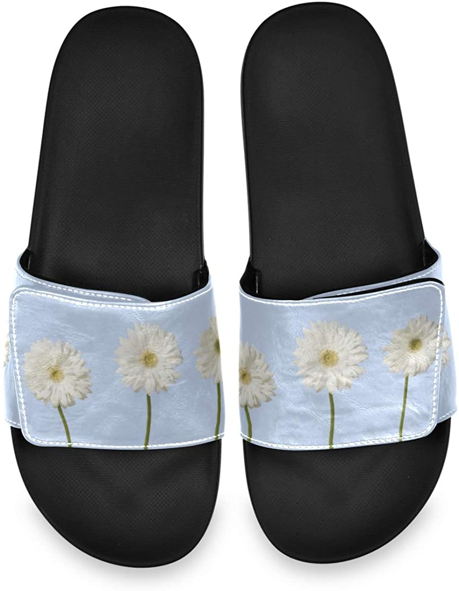 Three White Daisies Flowers On Sky Blue Background - with Stems Men's Summer Sandals Slide House Adjustable Slippers Home Boys