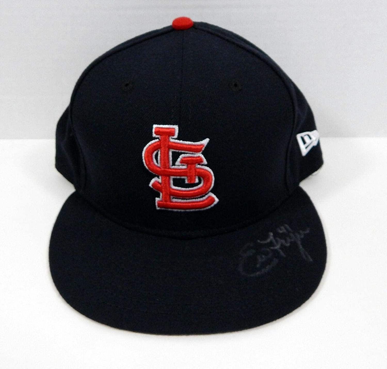 St. Louis Cardinals Eric Fryer #41 Signed Blue Hat Auto 7.375 STLC0563 - Autographed Hats