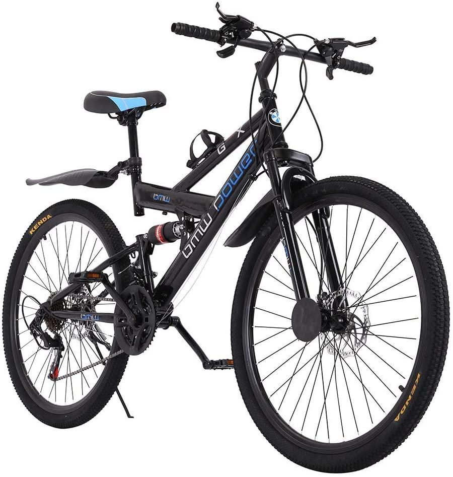 Gooldu Mountain Bikes for Men & Women 26 Inch 21 Speed Full Suspension Double Disc Brakes Folding Urban Track Road Bike