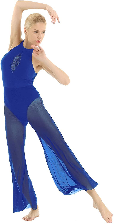 iiniim Women's Halter Neck Sleeveless Lyrical Jumpsuit Dance Costume Mesh Long Pants