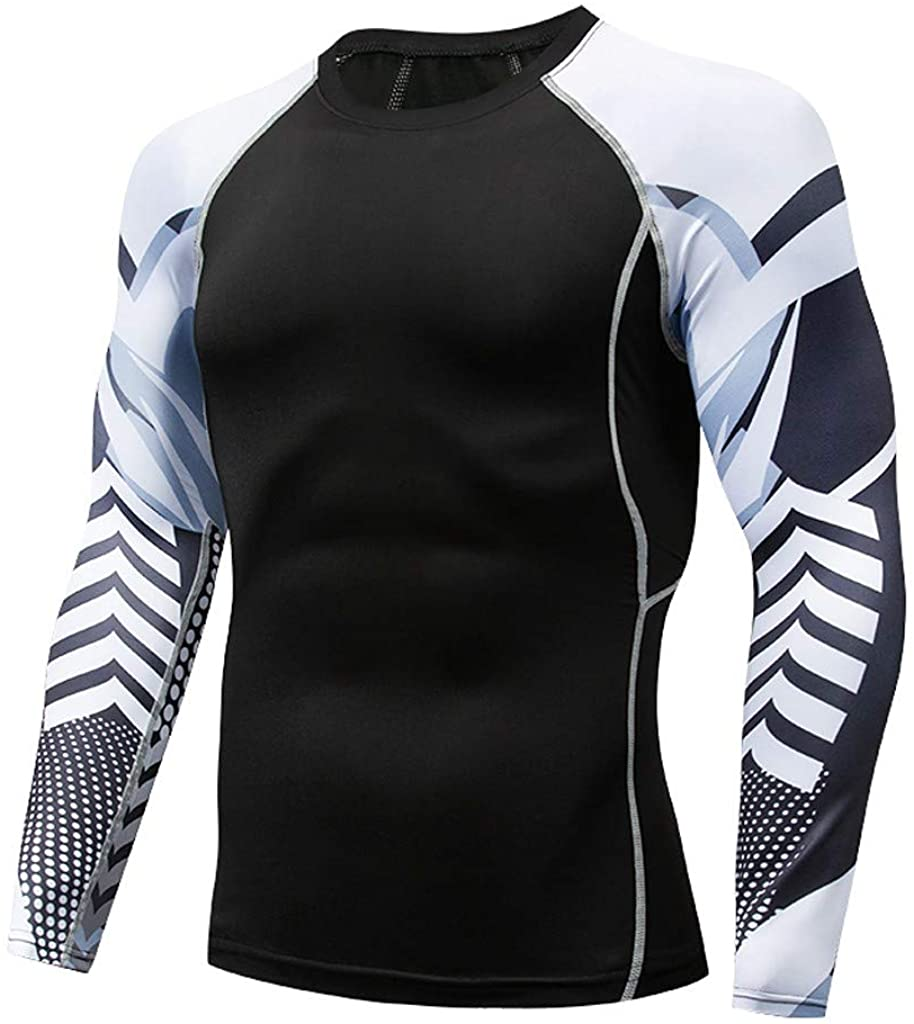 Allywit-Mens Long Sleeve T Shirts Cool Dry Compression Shirt Long Sleeve Workout Shirts S-3XL Baselayer Tops