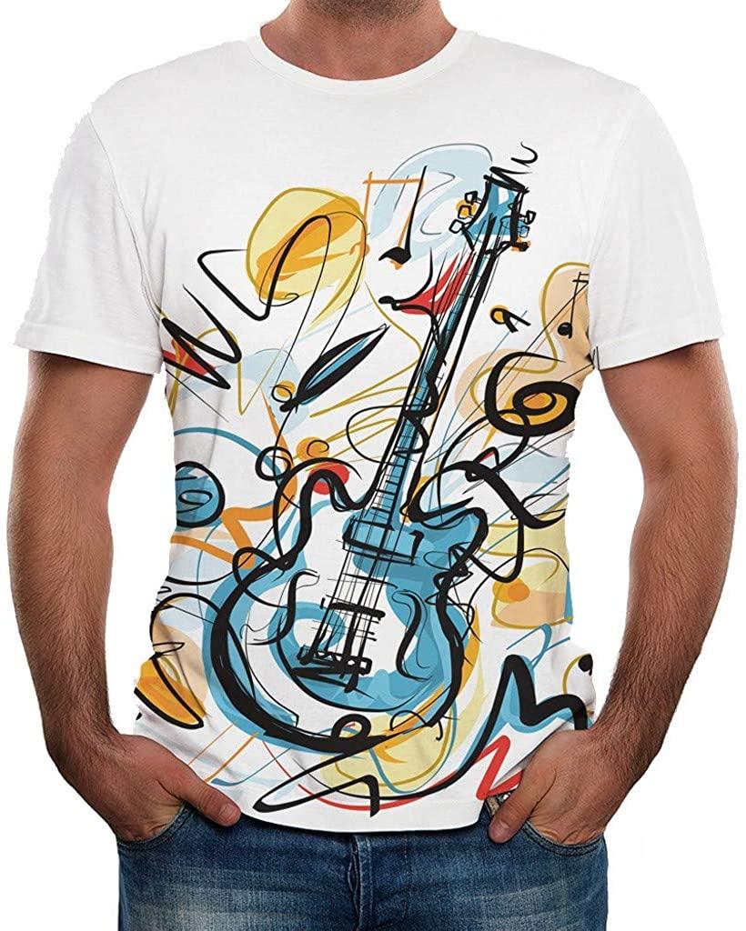 Tomppy Men's Short Sleeve Shirts Casual Summer Fashion Guitar Printed T-Shirt Tops