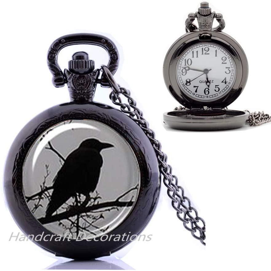 HandcraftDecorations Raven Pocket Watch Necklace-Glass Pocket Watch Necklace-Crow Pocket Watch Necklace-Raven Glass Pocket Watch Necklace,Raven Jewelry,Raven Jewellery.F240