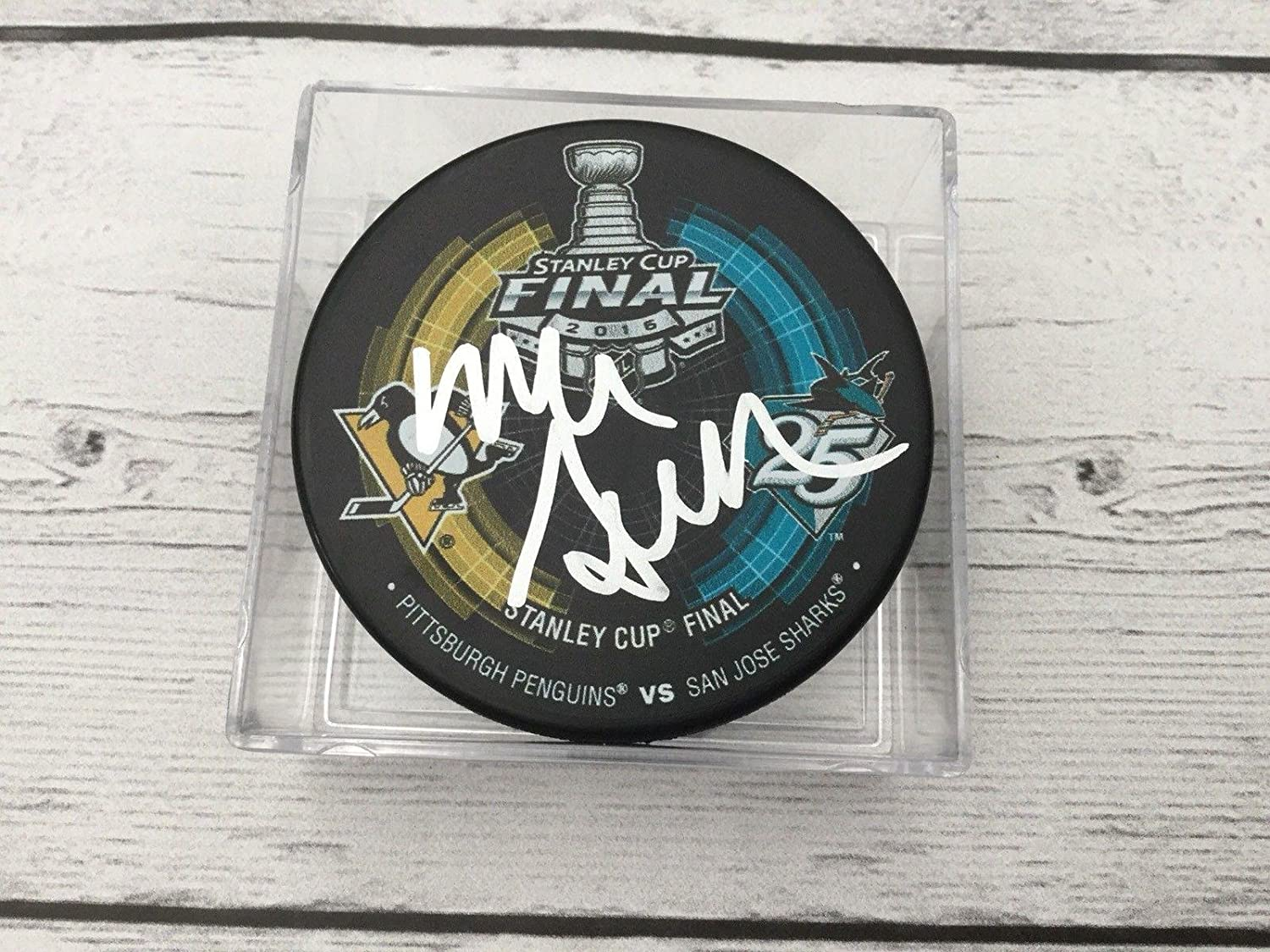 Signed Mike Sullivan (Phoenix Coyotes) Puck - 2016 Stanley Duel Pittsburgh Penguins a - Autographed NHL Pucks