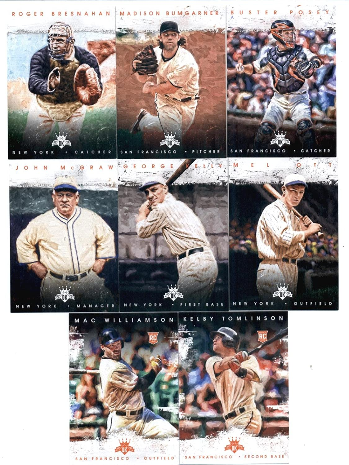 2016 Diamond Kings San Francisco Giants Team Set of 8 Cards: George Kelly(#5), Mel Ott(#15), John McGraw(#41), Roger Bresnahan(#44), Buster Posey(#60), Madison Bumgarner(#86), Mac Williamson(#170), Kelby Tomlinson(#183) in Protective Snap Case