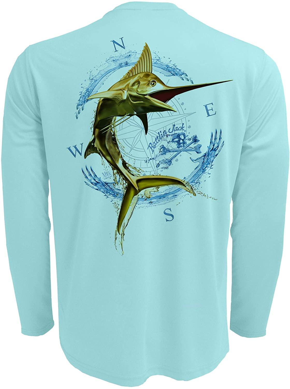 Rattlin Jack Men's UV Protection Sport Fishing Shirt Marlin Gold or Silver