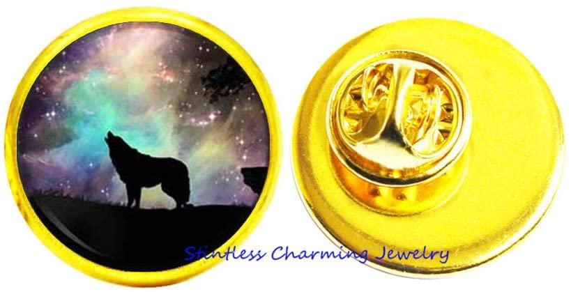 Galaxy Pin Space Brooch Wolf Jewelry,Wolf Animal Jewelry Animal Brooch-JV231
