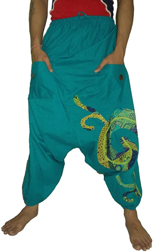 Sarjana Handicrafts Men's Cotton Harem Pockets Genie Dance Yoga Baggy Pants