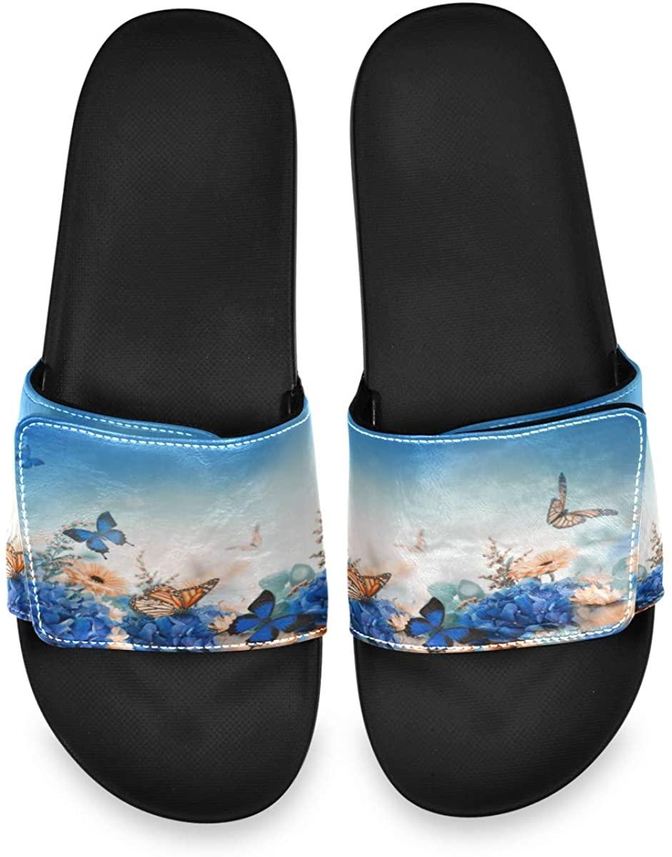 Beautiful Butterfly Daisy Flower Landscape Mens Leather Slide Sandals Summer House Adjustable Slippers Slip On Boys