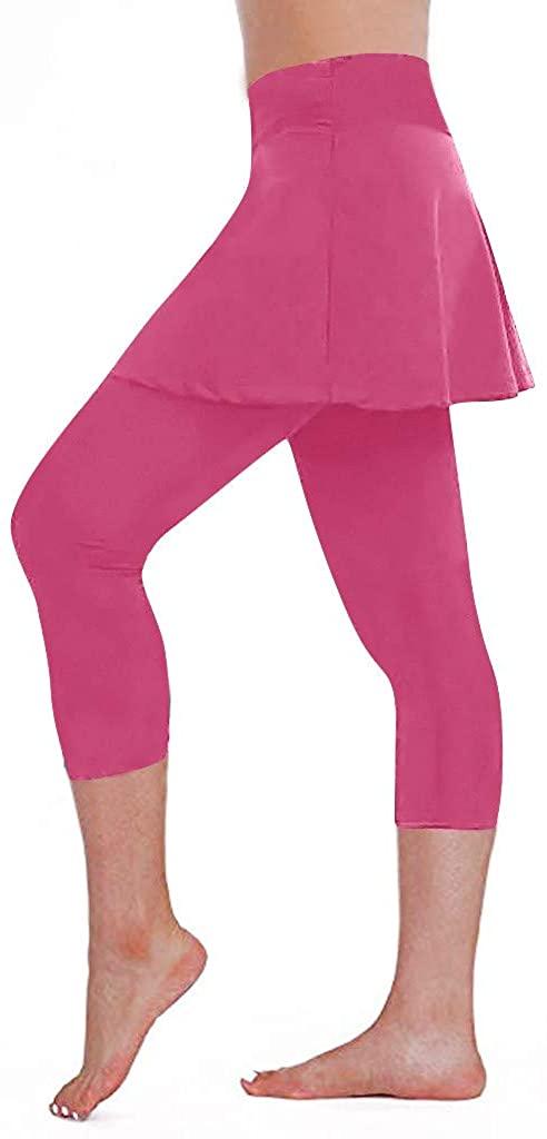 HDGTSA Women's Casual Skirt Leggings Sports Fitness Cropped Culottes Tennis Pants