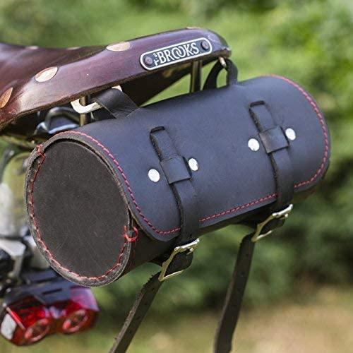 London Craftwork Roll Genuine Leather Saddle Bag Handlebar Frame Bag in Black RED UK Made Tracked Shipping ROL-BL-RED