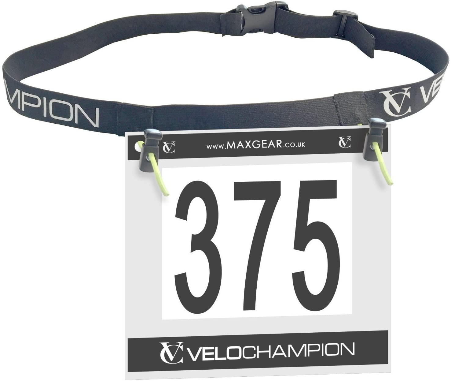 VeloChampion Running, Triathlon, Marathon Number Belt. No pins Needed. Adjustable & 2 Styles Available