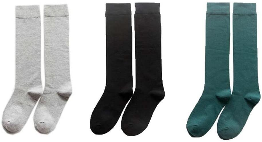 Gentle Meow Pack of 3 Womens Spring Socks Blend Crew Sock Girls Mix Colors Long Tube Socks(B