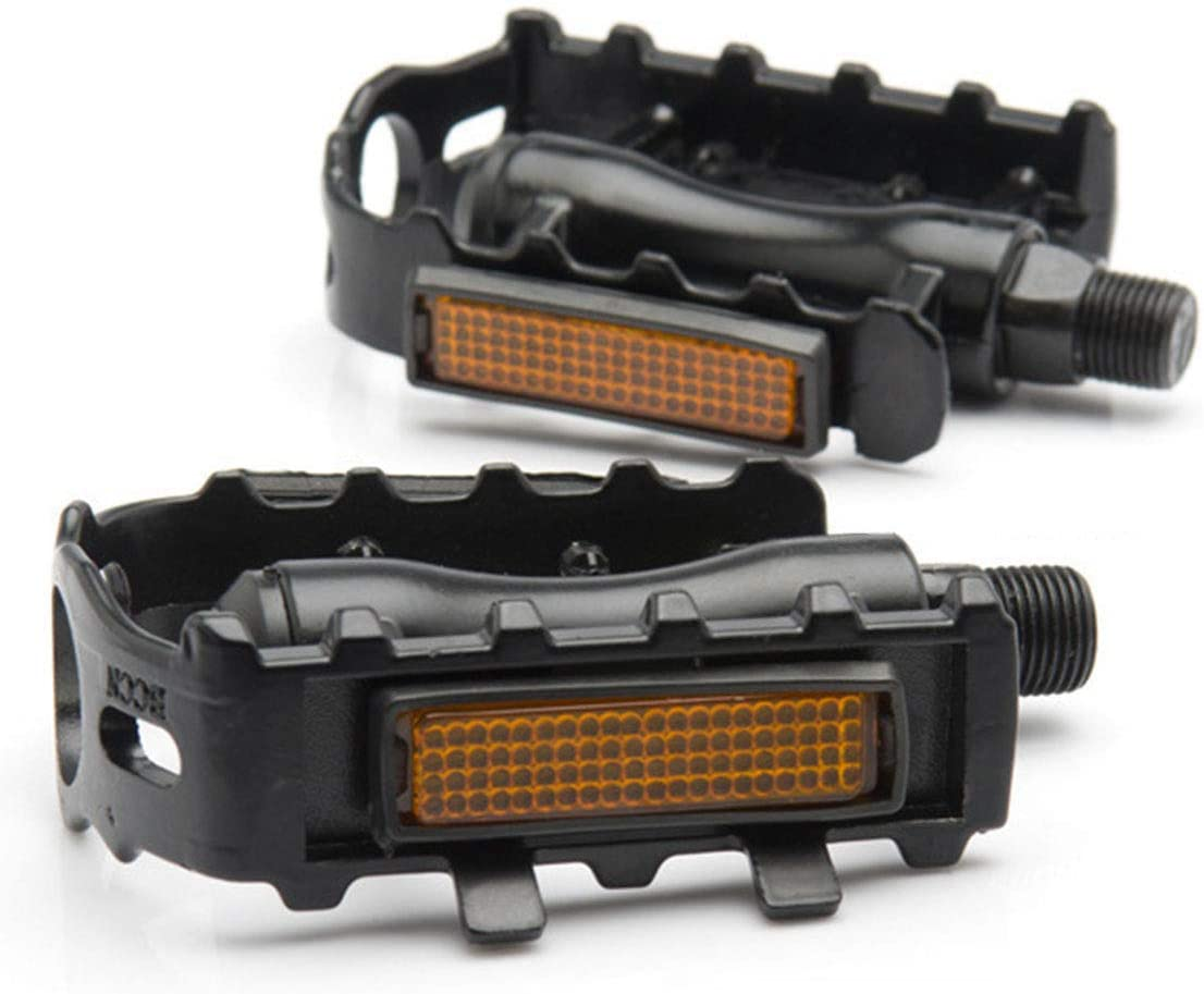 Springen Bicycle Pedals, Metal Universal Reflective Pedal, Non-Slip Pedal for BMX, MTB, Road Bike