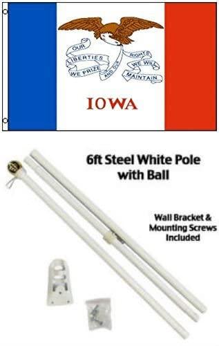 2x3 2'x3' State of Iowa Flag White Pole Kit Gold Ball Top