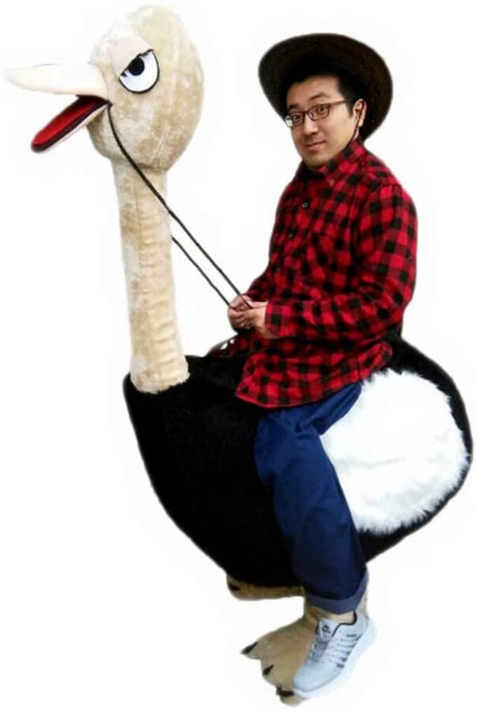 Riding an Ostrich Man Cartoon Costume Mascot Plush with Mask for Adult Cosplay Party Halloween Dress Up
