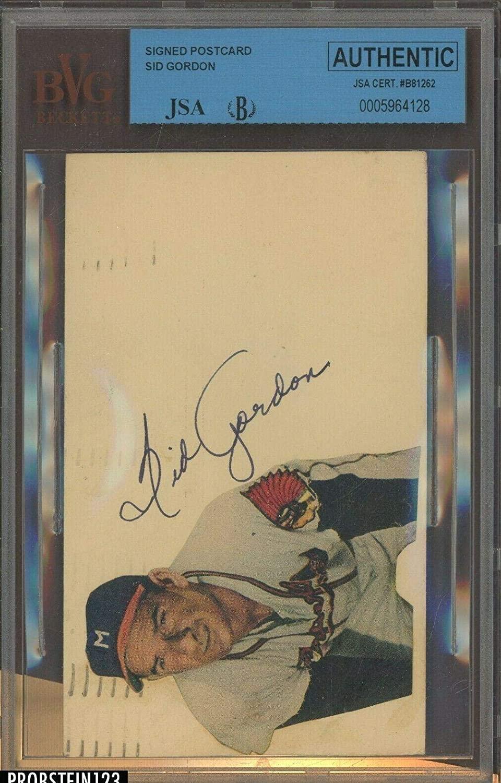 Sid Gordon Braves Giants D.1975 Signed Gpc beckett - JSA Certified - MLB Cut Signatures