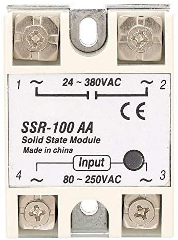 Solid state relay, single phase solid state relay module SSR-100AA input 80-250VAC output 24-380VAC