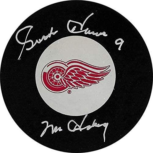 Autographed Gordie Howe Puck - deceased w Mr.) - Autographed NHL Pucks