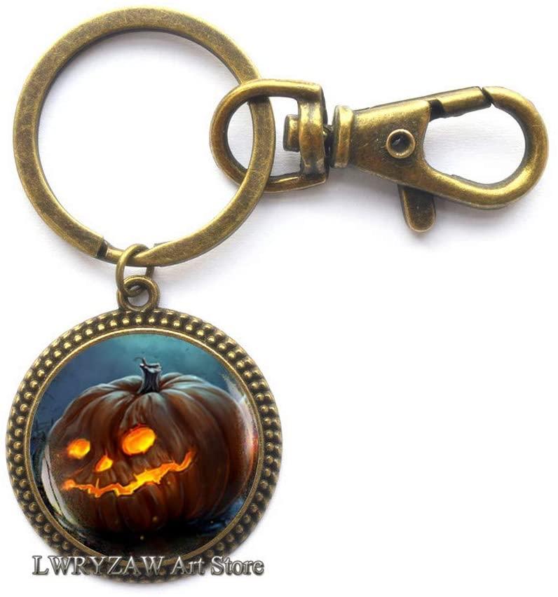 Halloween Pumpkin Keychain, Halloween Pumpkin Key Ring, Halloween Jewelry, Trick or Treat Halloween Key Ring,M102